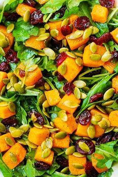 Arugula Salad with Roasted Butternut Squash and Cranberries, easy recipes, vegetables, veggies, greens, weeknight recipes