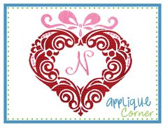 Heart Monogram Frame Embroidery Design