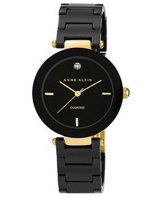 Anne Klein Watch, Women's Diamond Accent Black Ceramic Bracelet 33mm AK-1018BKBK - All Watches - Jewelry & Watches - Macy's