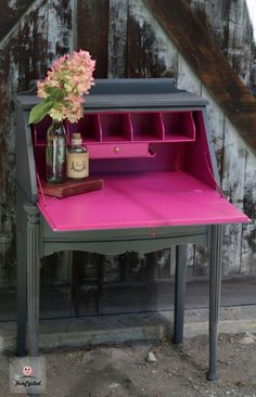 Grey and Hot Pink Secretary Desk - Interior painted with Benjamin Moore's Crushed Berries
