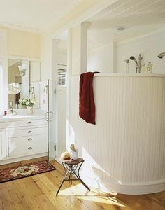 Curved Partial Wall Bathroom Shower ~ WOW! I really like this!