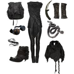 """Post apocalyptic - the desert viper"" by sulfur on Polyvore. Let's take a moment to think about what Anya or Lexa would wear: this."