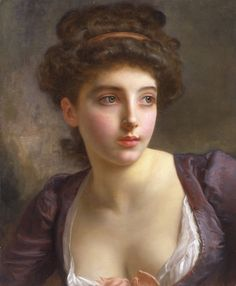 A Court Beauty. Gustave Jean Jacquet (French, 1846-1909). Oil on canvas. Jacquet's mastery of a supremely delicate, yet highly finished style. Wavy hair is pulled back, accentuating the soft lines and clean tones of her cheek and neck. A violet silk dress with plunging bodice further reveals the artist's ability at recreating the translucency of flesh and the soft texture of fabric. Despite her 18th-century dress, the woman's expressiveness gives the painting a unique immediacy and presence.