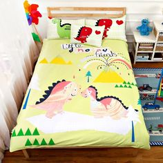 Cream Green Yellow and Pink Dinosaur Print Cartoon Themed Jungle Animal Themed 100% Cotton Twin, Full Size Bedding Sets for Kids - EnjoyBedding.com