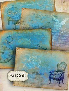 SHABBY BACKGROUNDS - Printable Digital Collage Sheet Antique Scrapbook Paper Vintage printables