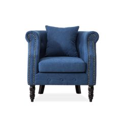 Blue Velvet Chesterfield Tub Chair – Living and Home Velvet Accent Chair, Accent Chairs, Blue Lounge, Wingback Armchair, Leather Chesterfield, Oak Color, Blue Velvet, Tub Chair, Brown Leather