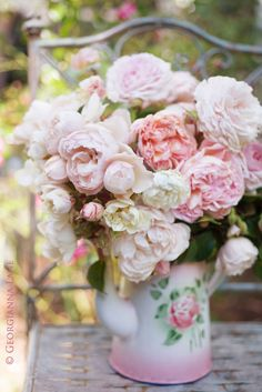 Peonies in a vintage wash jug! I Love peonies-They have an ethereal beauty that never cease to delight the inner child in me.