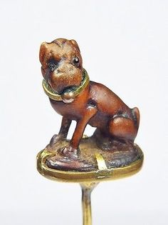 FABULOUS UNUSUAL ANTIQUE VICTORIAN ENGLISH CARVED WOOD BOXER DOG STICKPIN c1890