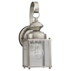 Sea Gull Lighting Jamestowne H Antique Brushed Nickel Medium Base Outdoor Wall Light at Lowe's. The Sea Gull Lighting Jamestowne one light outdoor wall fixture in antique brushed nickel enhances the beauty of your property, makes your home safer and Outdoor Wall Lantern, Outdoor Wall Sconce, Outdoor Wall Lighting, Exterior Lighting, Outdoor Walls, House Lighting, Landscape Lighting, Kitchen Lighting, Lighting Ideas