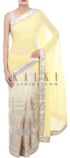 Buy Online from the link below. We ship worldwide (Free Shipping over US$100) http://www.kalkifashion.com/yellow-and-beige-half-saree-embellished-in-sequin-only-on-kalki.html