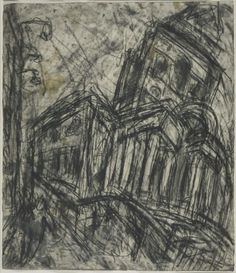 Artist;Leon Kossoff born 1926 Title;Christ Church, Spitalfields Date;1990 Medium;Charcoal and gouache on paper Dimensions; 757 x 660 mmThis drawing is the preparatory work for the painting adjacent to it. Leon Kossoff was born and studied in London and uses the city as his principal subject. He likes to draw and paint the everyday life on the streets of London.Kossoff has done a series of drawings and paintings on the subject of the grand city church.