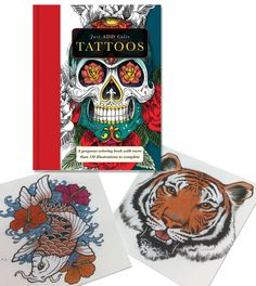 """This popular adult coloring book """"Just Add Color TATTOOS"""" is finally back in stock! The two beautifully done pages by Susan are an example of what you can do with gel pens! Available at our Ben Franklin Crafts store, Monroe, WA. 360-794-6745. (while supplies last)"""