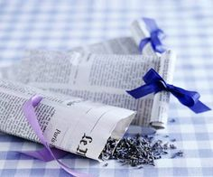 Lavender confetti in newspaper cones