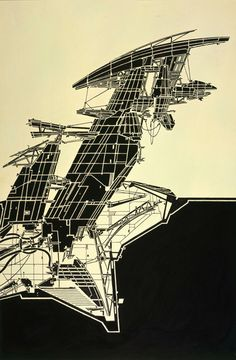 Exhibition: Lebbeus Woods, ON-line, Aerial Paris. Copic Marker on tracing paper on board, 815 × 507 mm © Estate of Lebbeus Woods Paper Architecture, Architecture Graphics, Architecture Drawings, Futuristic Architecture, Architecture Design, Classical Architecture, Architecture Diagrams, Architecture Portfolio, Concept Architecture