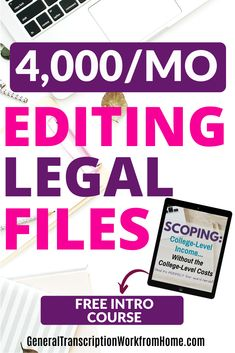 How you can make $4,000/Month from home editing court files. Take this free intro course to learn more about scoping and how to work from home as a scopist. #scopingjobs #editing #scopist #legaltranscription #onlinejobs #remotejobs #remotework #makemoneyonline #workfromhome Online Side Jobs, Best Online Jobs, Online Work, Work From Home Moms, Make Money From Home, Way To Make Money, How To Make, At Home Careers, Transcription Jobs For Beginners