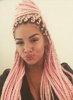 Pastel Pink Box Braids Half Updo