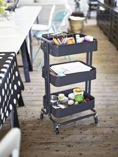 For Isa's craft stuff: IKEA Fan favorite: RÅSKOG kitchen cart. This open storage cart can be used in different ways, including as an extra work area in the kitchen, as practical storage in the hall or as a different nightstand in your bedroom.