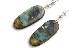Solid Boulder Opal Earrings with Silver Top - Opal Art Global Boho Jewelry, Gemstone Jewelry, Jewelry Design, Free Shapes, Silver Tops, Opal Earrings, Boho Fashion, Boho Chic, Gypsy