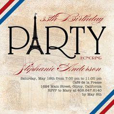 Parisian Party - Adult Birthday Party Invitations in Khaki | Fine Moments. Paris French France theme