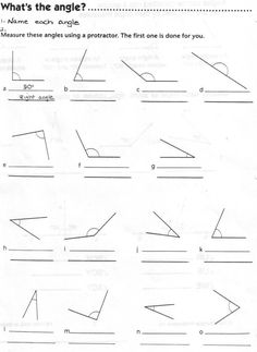 Types of Angles Worksheet