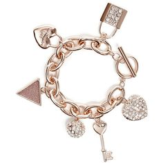 GUESS Rose Gold-Tone Rhinestone Charm Bracelet ($35) ❤ liked on Polyvore featuring jewelry, bracelets, rose gold, womens jewellery, vintage rhinestone bracelet, bracelet bangle, pandora bracelet and jade bangle