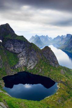 Spectacular view over the village of Reine from Reinebringen, Norway.