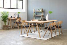 Eik lakkert sete i tekstil Rio dark grey Wishbone Chair, Dining Table, Dark Grey, Furniture, Home Decor, Asylum, Homemade Home Decor, Diner Table, Dinning Table Set