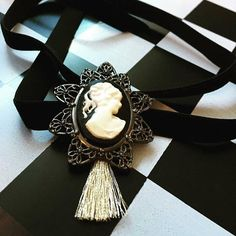 Vintage Style Cameo Velvet Ribbon Choker with golden tasle