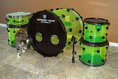 Drumdaddy Drums Florescent Green Acrylic kit 2014 Florescent green | Reverb