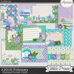 #2016 February - Stacked Pocket Cards by Connie Prince. Includes 10 cards (5) 6x4 size & (5) 4x6 size. Saved in PNG format. Shadows ARE included. Scrap for hire / others ok.