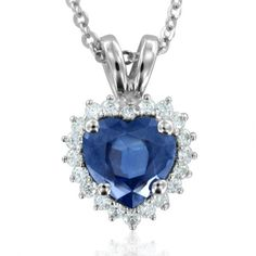 $770 : Heart Shaped Natural Sapphire and Diamond Necklace in 14k White Gold (G, SI2, 1.15 cttw) Certificate of Authenticity