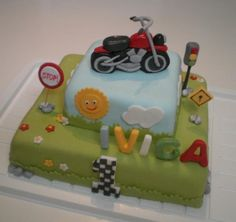 Cake for a little boy who is mad about his dad's motorcycle