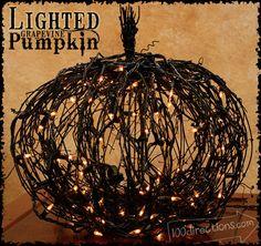 DIY Lighted Black grapevine pumpkin