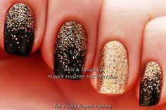 Black & Gold glitter ombre Shellac manicure