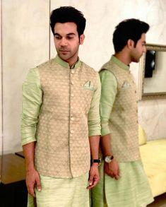Filmfare on Mehndi colour Mens Wedding Wear Indian, Blazer For Men Wedding, Wedding Kurta For Men, Mens Indian Wear, Wedding Dresses Men Indian, Indian Groom Wear, Wedding Dress Men, Indian Men Fashion, Wedding Men
