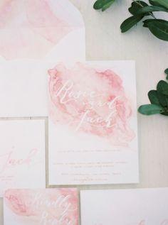 pink watercolour wedding invitation