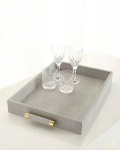 H8HMD AERIN Classic Dove Faux-Shagreen Serving Tray