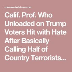 Calif. Prof. Who Unloaded on Trump Voters Hit with Hate After Basically Calling Half of Country Terrorists, Flees State