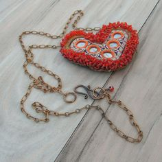 Shisha Mirror Heart Necklace  Long with Vintage by GypsyIntent, $36.00