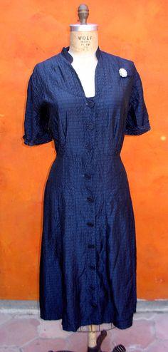 Vintage 30s 40s Women's Dark Blue Dress with by SweetPickinsShop, $48.00