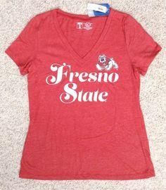 New Womens(Med) FRESNO STATE BULLDOGS T-SHIRT TOP Faded/Heather-Red&White V-neck #UniversityT #FresnoStateBulldogs