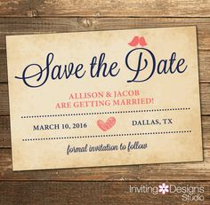Rustic Wedding Save the Date, Love Bird, Coral and Navy, Vintage, Printable Wedding Suite, Printable Save the Date (PRINTABLE FILE)