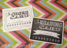 Printable Chore & Reading Punch Cards | Salt and Pepper Moms: