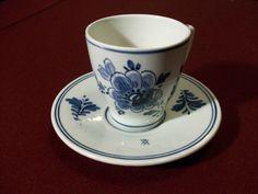 DELFT HOLLAND  Floral Cobalt Blue White Tea Cup and Saucer Demitasse