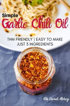 My simple garlic chili oil is delicious on all your favorite Asian dishes, eggs, meats, veggies and more. Try it on my Simple Low Carb Ramen, too! Easy to make, just 3 ingredients. #chilioil #thm Meat Appetizers, Appetizer Recipes, Dinner Recipes, Easy Chinese Recipes, Asian Recipes, Sauce Recipes, Cooking Recipes, Thm Recipes, Air Fryer Recipes