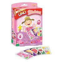 UNO turns Pinkatastic with this Pinkalicious version of the classic card game! 112 custom cards feature your favorite Pinkalicious characters and cupcakes. Same great UNO play PLUS the exclusive Pinkaliciou s card and rule. UNO has never been so pink!! Includes collectors tin. Available at Barnes & Noble and Amazon.com.