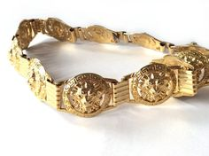 Vintage gold chain belt .Huge medallions lions by OhInTheShop