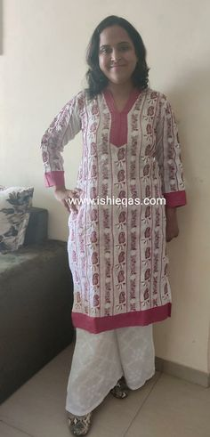 ISHIEQA's White-R Cotton Chikankari Kurti - LC011AB Types Of Stitches, Kurti, Diaries, Tunic Tops, Pure Products, Silk, Cotton, Stuff To Buy, Beauty