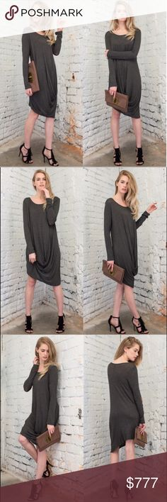 ASYMMETRICAL HEMLINE CHARCOAL  DRESS COMING SOON! Beautiful, unique, asymmetrical hemline, semi sheer, so soft and comfortable dress from April Spirit. Measurements and fabric content to come. I will drop the price to $42.00 once this beauty arrives. Thanks for stopping by @treasuresbytrac  April Spirit Dresses