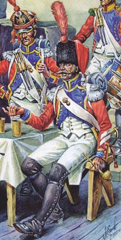 French; 30th Line Infantry, Drum major 1810-12 by A.Yejov(first published in Gloire et Empire No.30), again Charmy shows black facings